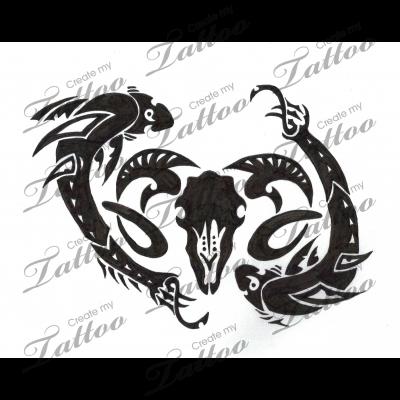 acb0052fbf706 Marketplace Tattoo Pisces meets Aries #6321 | CreateMyTattoo.com ...