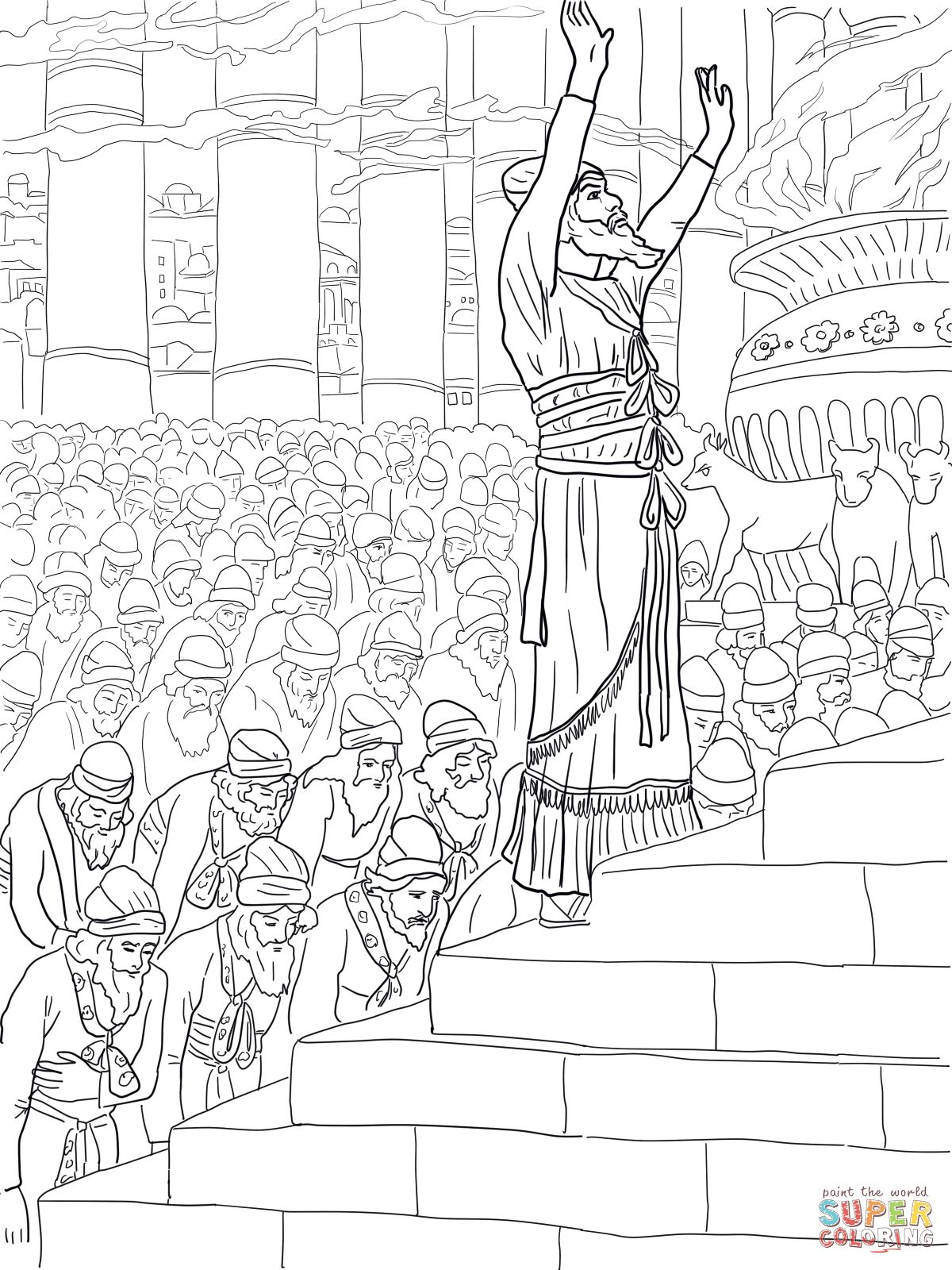 Solomon Prayer In The Temple Coloring Page Supercoloring Com