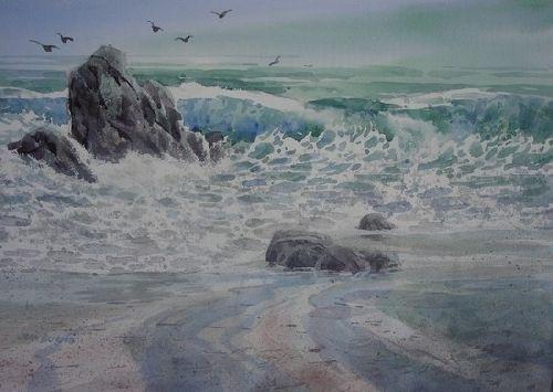 Azure Erosion by Jim Burns Watercolor ~ 14 x 21
