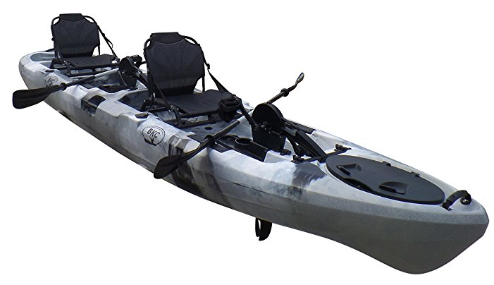 BKC PK14 14 Tandem Sit On Top Pedal Drive Kayak W//Rudder System 2 Upright Back Support Aluminum Frame Seats 2 Person Foot Operated Kayak 2 Paddles