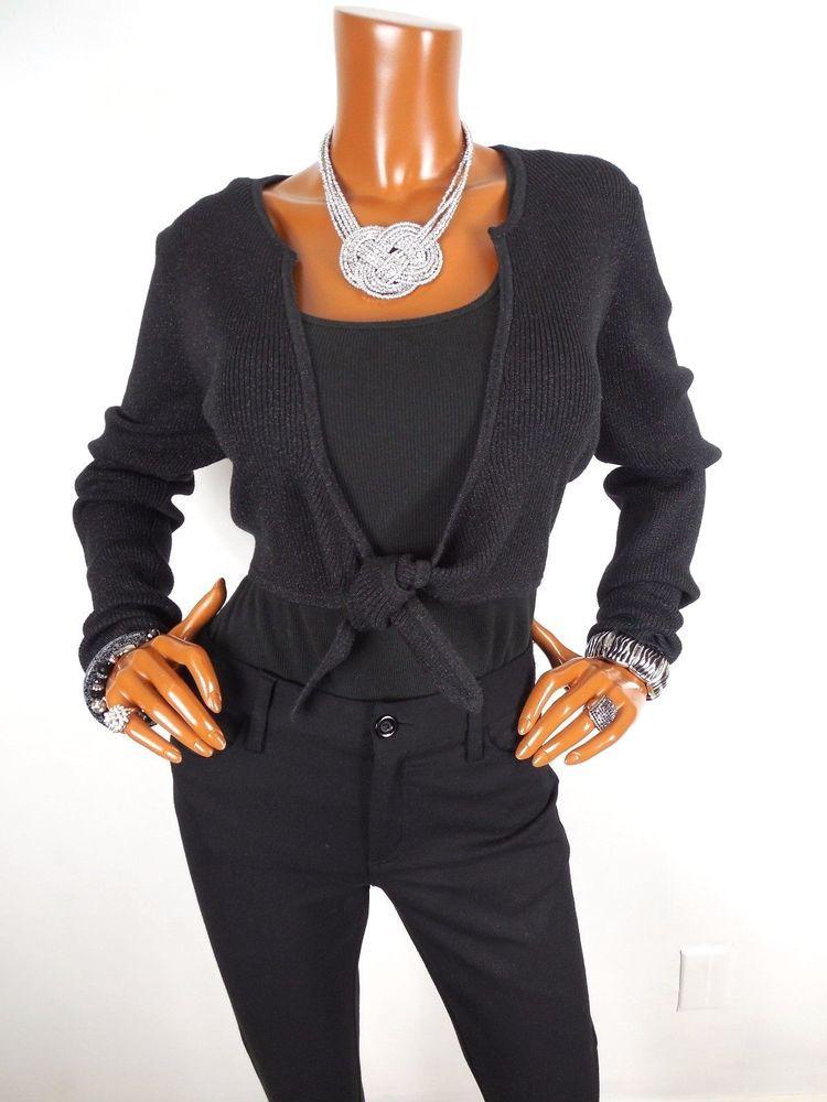 INC Womens Top XL SILK Black Metallic Blouse Cardigan Shirt Long Sl Bolero Shrug #INCInternationalConcepts #Blouse #Casual