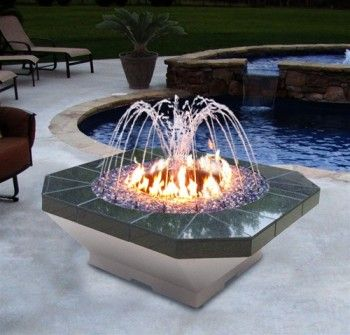 The Gemini Square Fire Pit And Water Fountain With Light