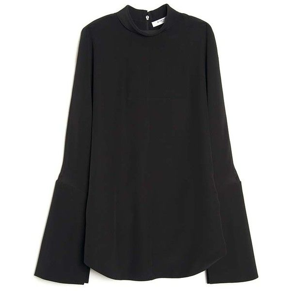 Givenchy Backless Long Sleeve Top ($2,020) ❤ liked on Polyvore featuring tops, black, givenchy, open back long sleeve top, long sleeve silk top, collar top and high neck top