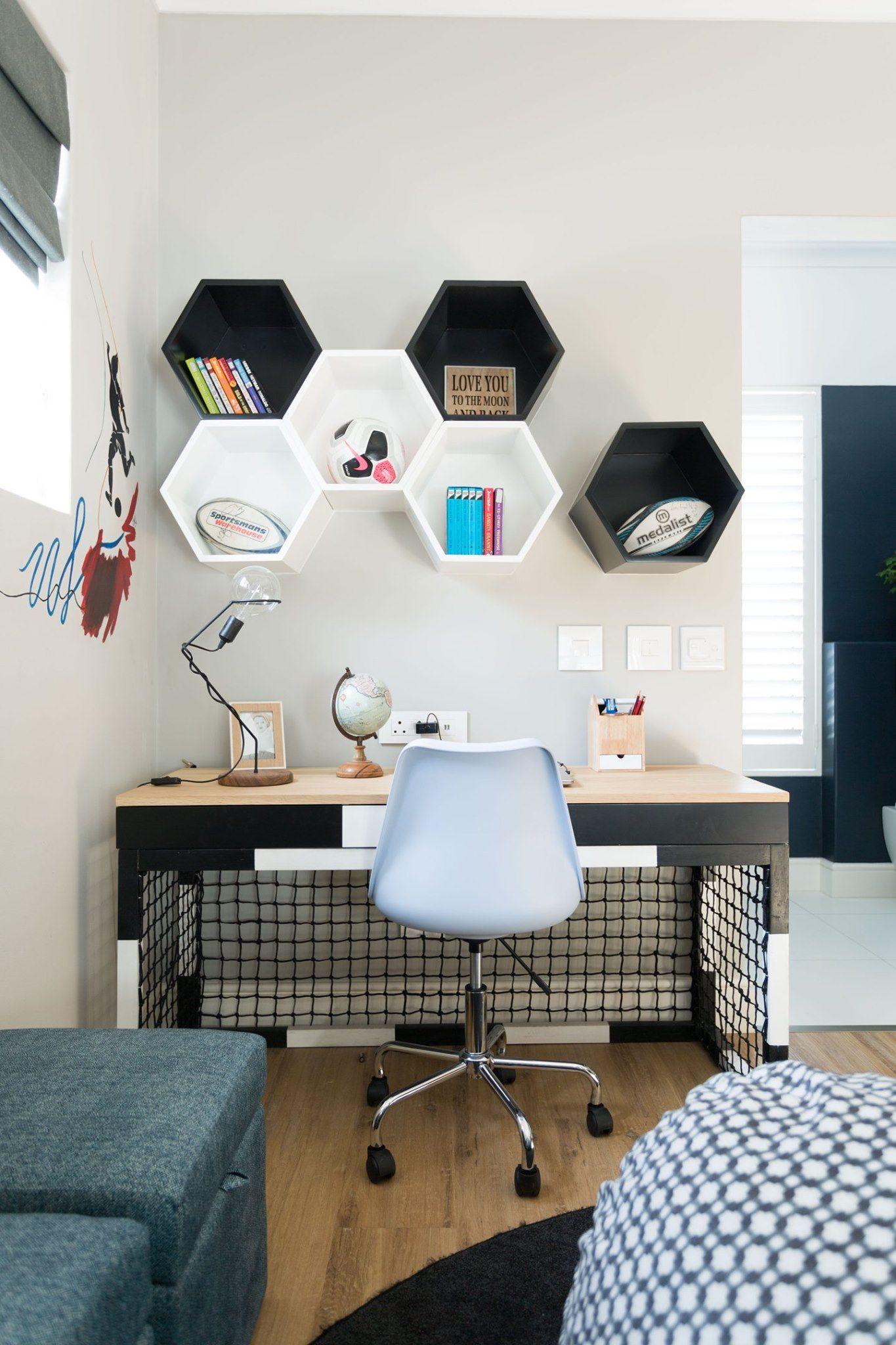 Kim Williams Design Boy Soccer Theme Desk In 2020 Soccer Themed Room Soccer Bedroom Decor Soccer Bedroom