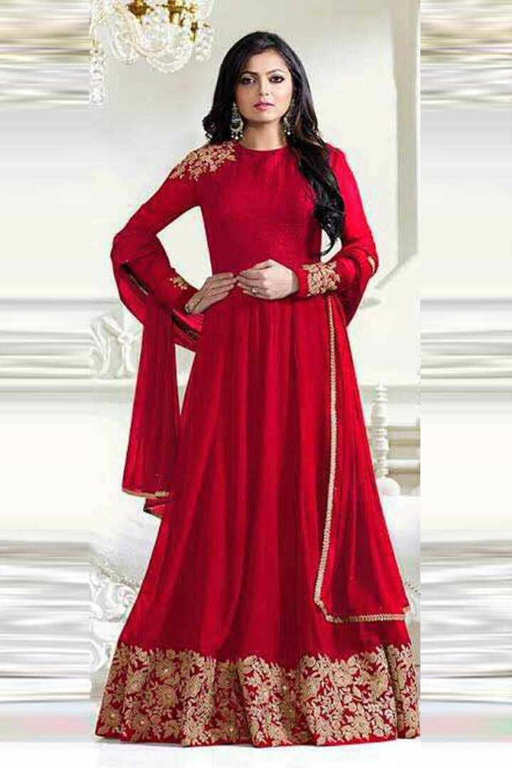91bfabac96 Red Georgette #Anarkali #Suit #nikvik #usa #designer #australia #canada # freeshipping #full #fashion