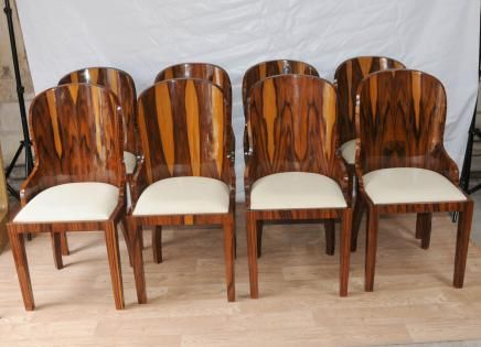 Set Art Deco Dining Chairs Rosewood Furniture 1920s