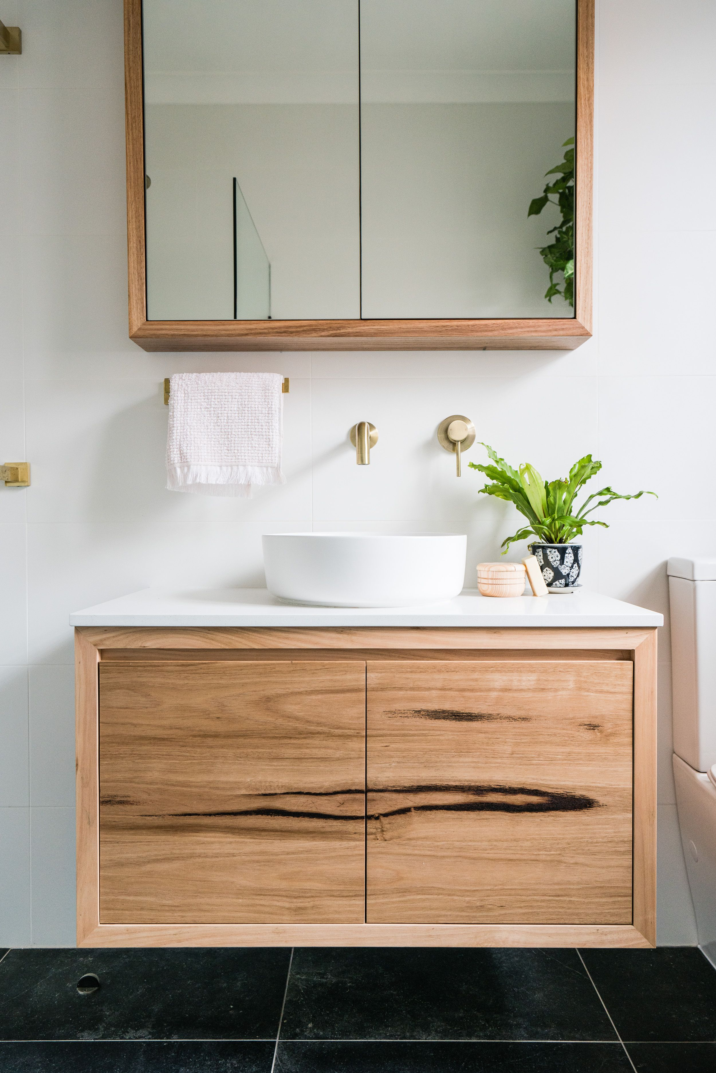 Wormy Chestnut Custom Made Timber Vanity Timber Vanity Bathroom Interior Wooden Bathroom [ 3748 x 2500 Pixel ]