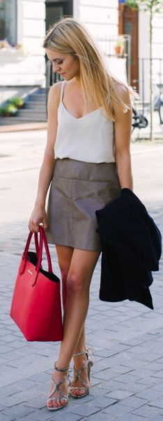 Red Leather Tote White Silk Cami Taupe Leather Skirt Heeled ...