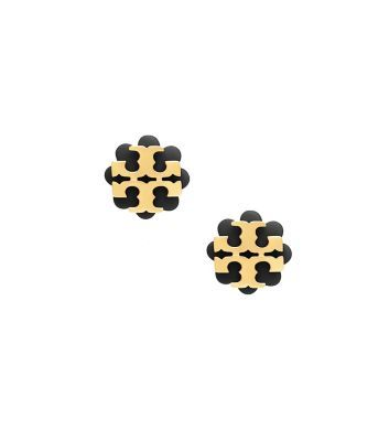 56d08861e Tory Burch Logo Flower Resin Stud Earring Tortoise/Shiny Gold ...