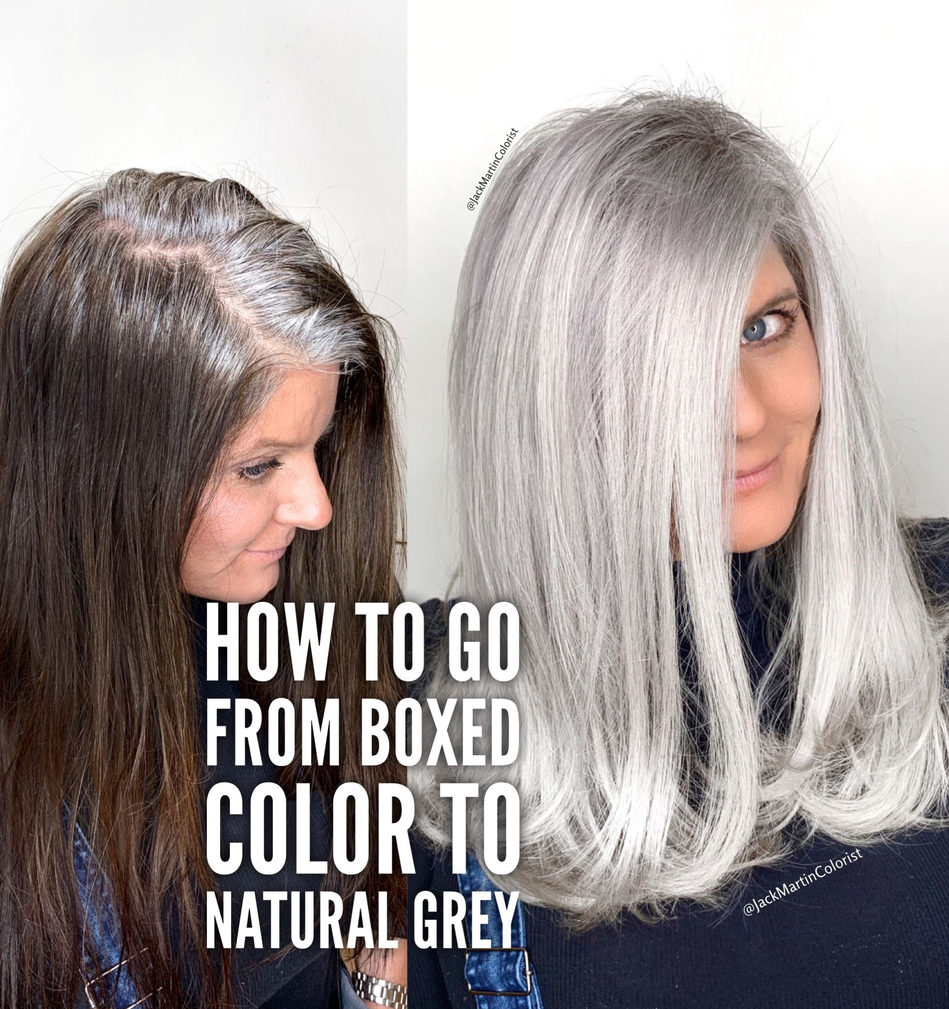 How To Go From Boxed Color To Natural Grey Check The Link Below Gray Hair Highlights Grey Hair Dye Transition To Gray Hair