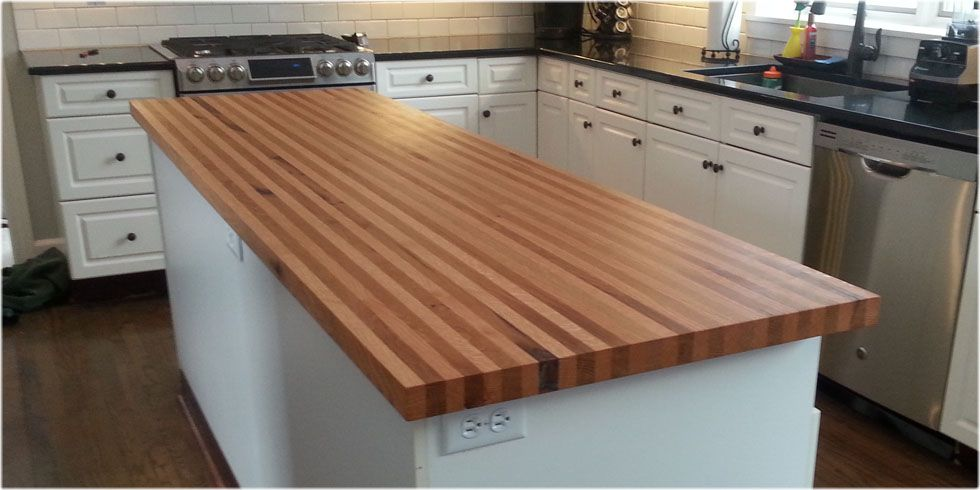White And Red Oak Butcher Block Island Top Jpg Wood Slab Solid Wood Countertops Countertops