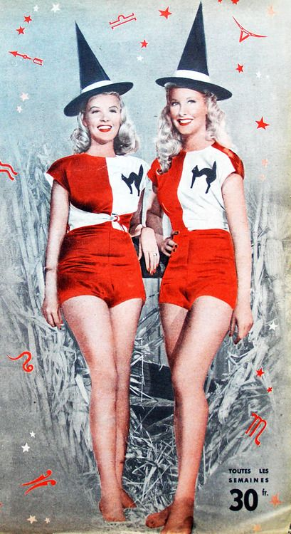 Barbara Bates and Penny Edwards looking totally lovely at Halloween, c. 1950. Vintage halloween