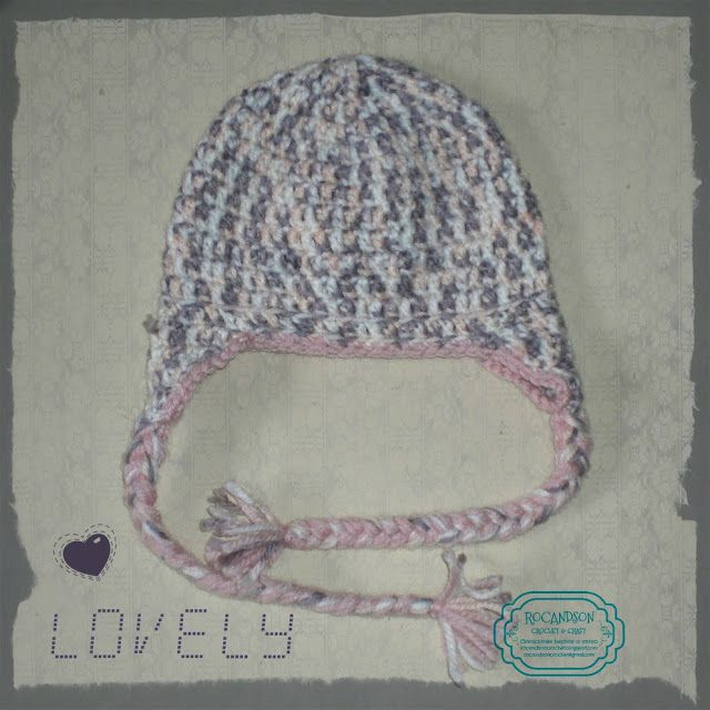 Gorro en crochet con orejeras tonos roas y grises. | BEBES-NIÑ@S ...
