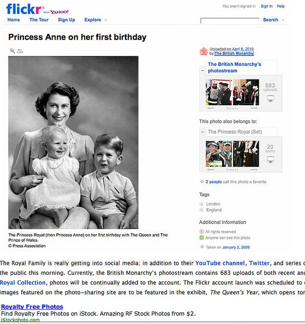 """Great photo. And kudos to the Royal Family for embracing Flickr. But I did think the ad at the bottom of the web page is hilarious - """"Royalty Free Photos"""" advertised below a photo of Royalty!     Learn the secret codes to   snowball   traffic to your link at a   low price very inexpensive system.  For more info go to:  htt"""