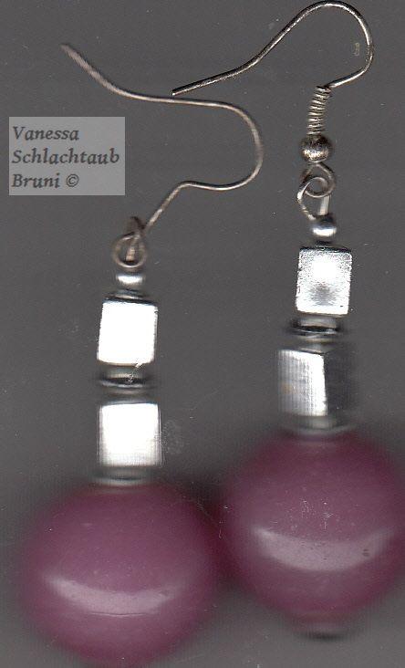 "Pink glass earrings ""Dawn"""