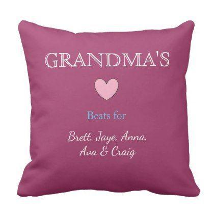 Grandma39s heart with grandkids names pillow  Xmas ChristmasEve Christmas Ev Grandmas heart with grandkids names pillow  Xmas ChristmasEve Christmas Ev