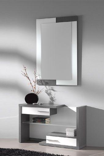 elegante mueble recibidor de estilo moderno compuesto por espejo y mueble con dos cajones en colores