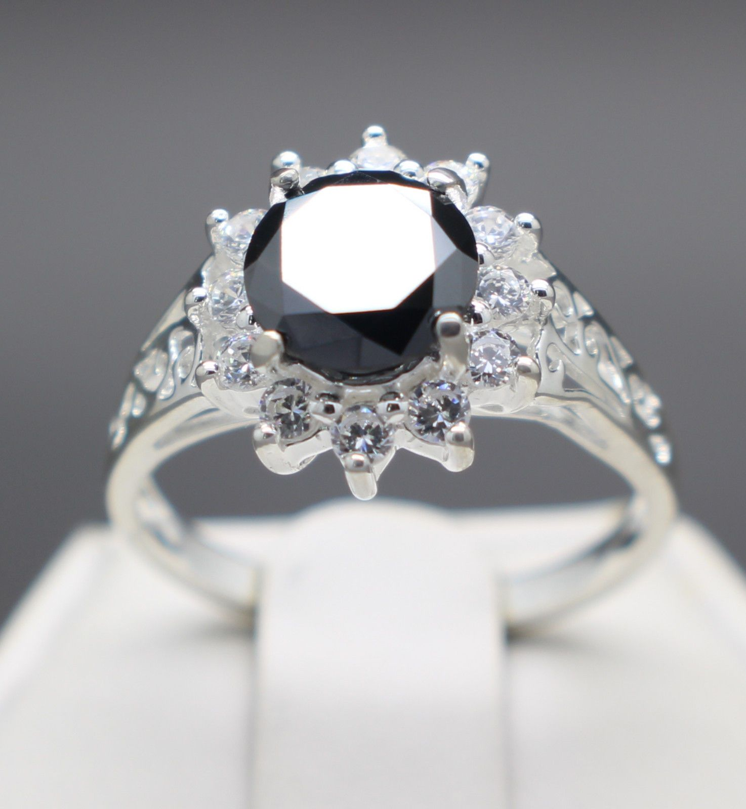 jewelry 1 41cts 7 36mm Natural Black Diamond Ring Certified AAA