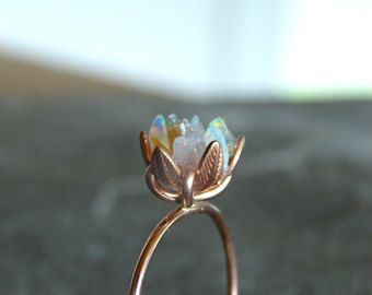 Unique Opal Ring, Custom Uncut Opal Engagement Ring, Lotus Flower Ring in Rose Gold, Raw Rough Fire Opal Jewelry for Women, Birthstone Rings #lotusflower