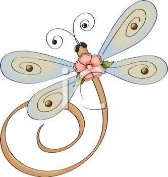 whimsical dragonfly with flower