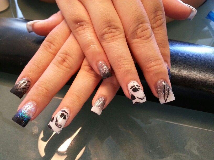 Acrylic nails Halloween Mike Myers | Nails, Halloween ...