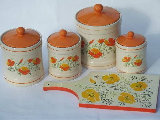 Retro Photos From The 70s Retro Orange Poppies Kitchen Canisters Set And Breadboard 70s Vintage Kitchen Canister Set Orange Poppies Retro Orange