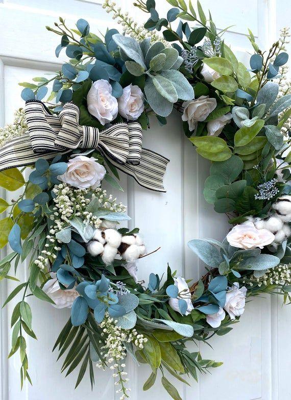 Photo of Spring Wreath For Front Door, Spring Wreath, Summer Wreath, Farmhouse Spring Wreath, Lambs Ear Wreath, Spring Decor, Farmhouse Decor