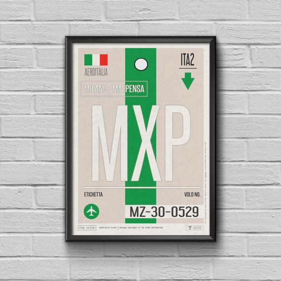 Milano Luggage Tag Poster Vintage Travel Decor Airport Code