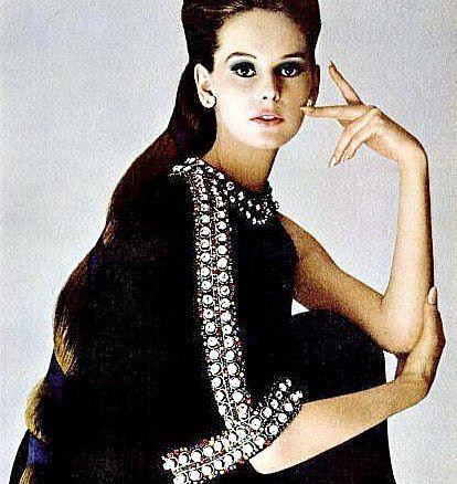 Agneta Frieberg in caftan by Jacques Tiffeau for Revlon ad, 1967