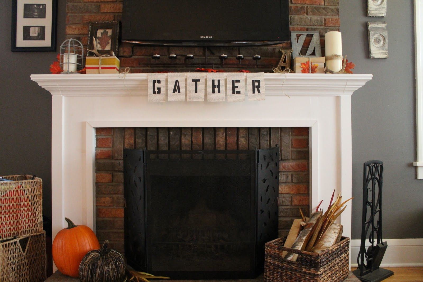 how to decorate your mantel if you have a tv above it - Google Search