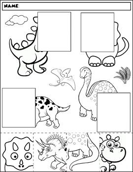 dinosaur color and match group 2 actividades preschool worksheets letter worksheets for. Black Bedroom Furniture Sets. Home Design Ideas