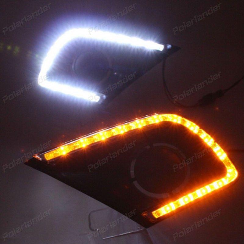 2 Pcs For T Oyota I Nnova 2013 2015 White Tube Led Daytime Day Fog Drl Signal Light Run Light Black Fog Lamp Toyota Innova Running Lights Car Lights