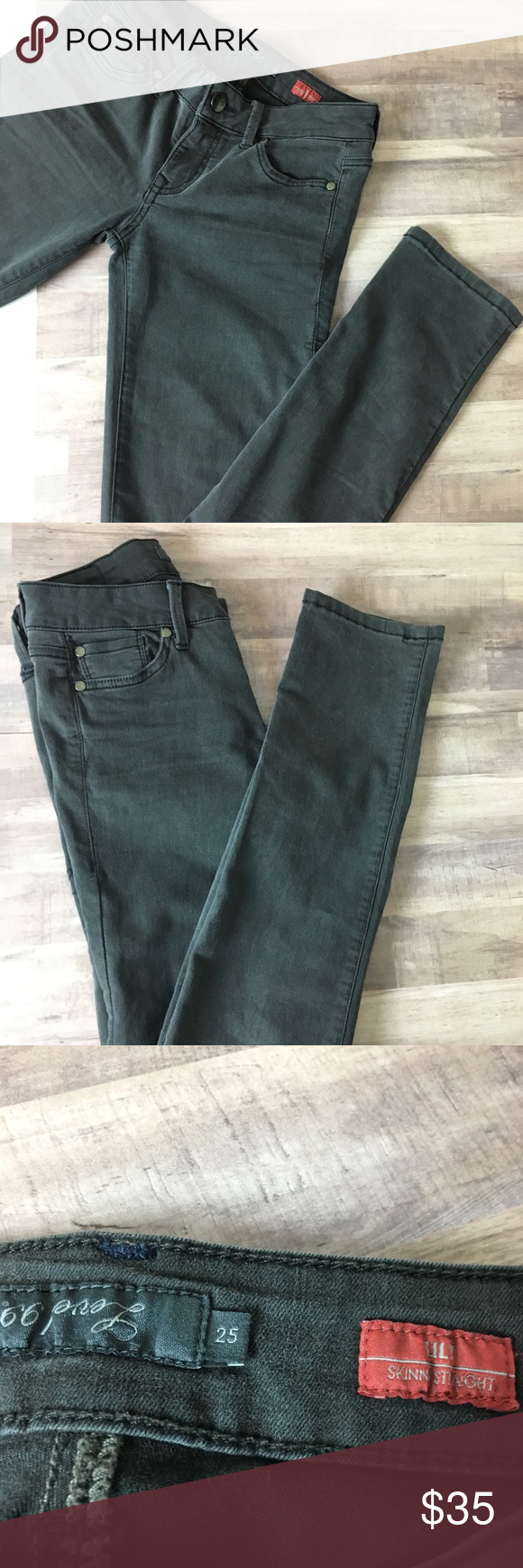 Level 99 25 Lily Skinny Dark Gray Black Jeans Great Used Condition Stretchy Jegging Like BIN A