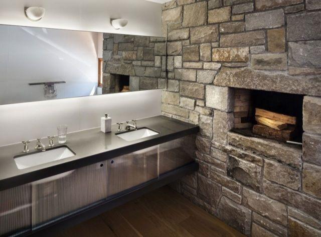badezimmer einbau kamin ofen naturstein fliesen wand optik - Natursteinwand Badezimmer