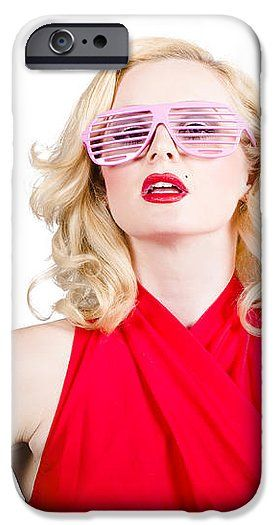Pinup Lady Sunglasses IPhone 6s Case featuring the photograph Fashion Girl In Retro Sunglasses. Summer Fashion by Ryan Jorgensen