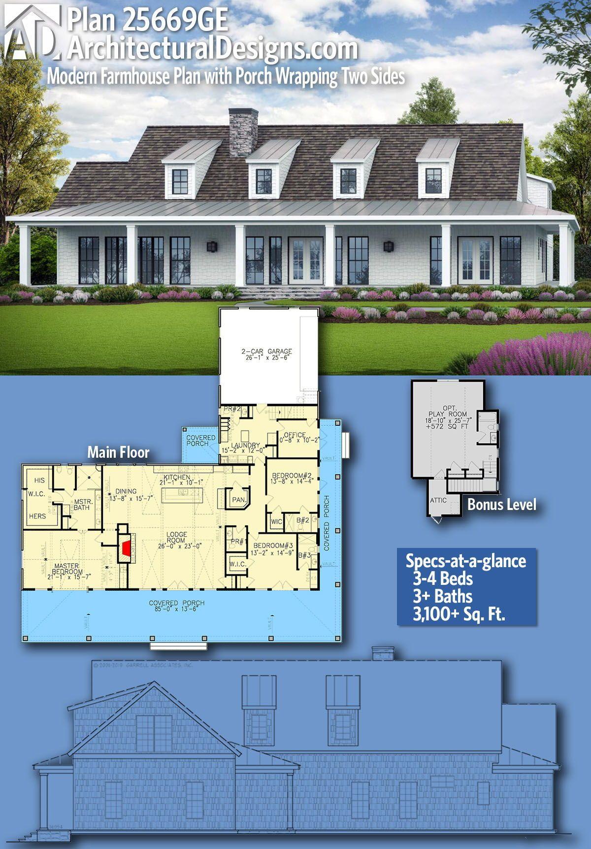 Plan 25669ge Modern Farmhouse Plan With Porch Wrapping Two Sides Farmhouse Plans Modern Farmhouse Plans House Plans Farmhouse