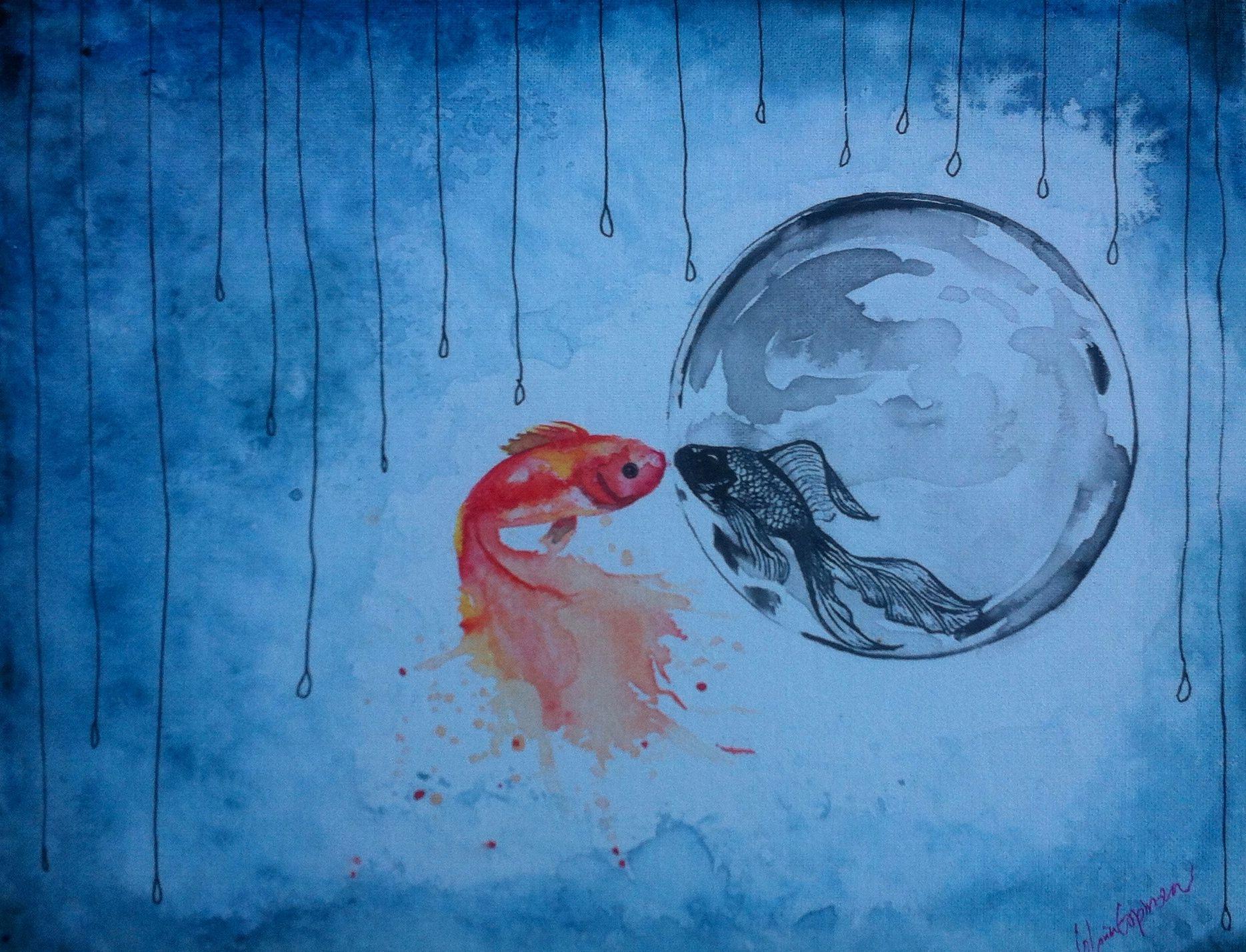 Original art by Gloria E. Fish Reflection. Watercolor. bubble.