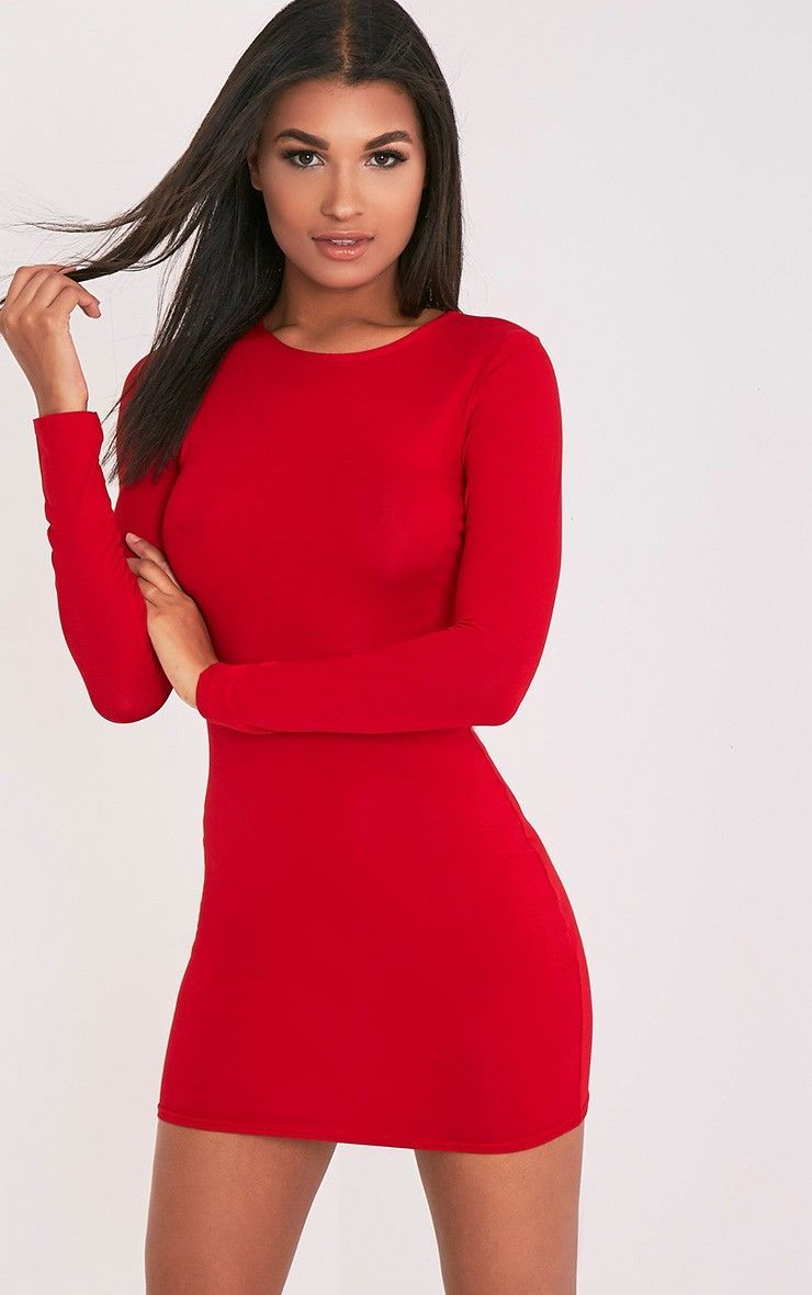Amerie red jersey long sleeve bodycon dress outfits in