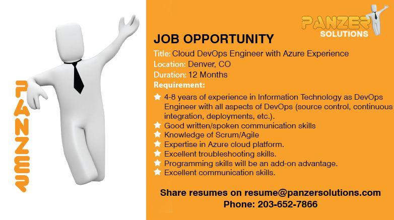 Job title cloud devops engineer with azure experience