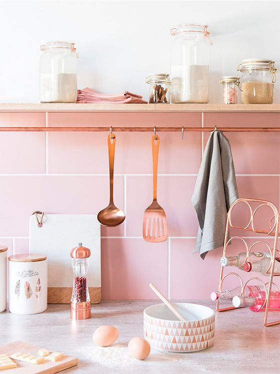 Rose Gold Kitchen With Pink Tiles