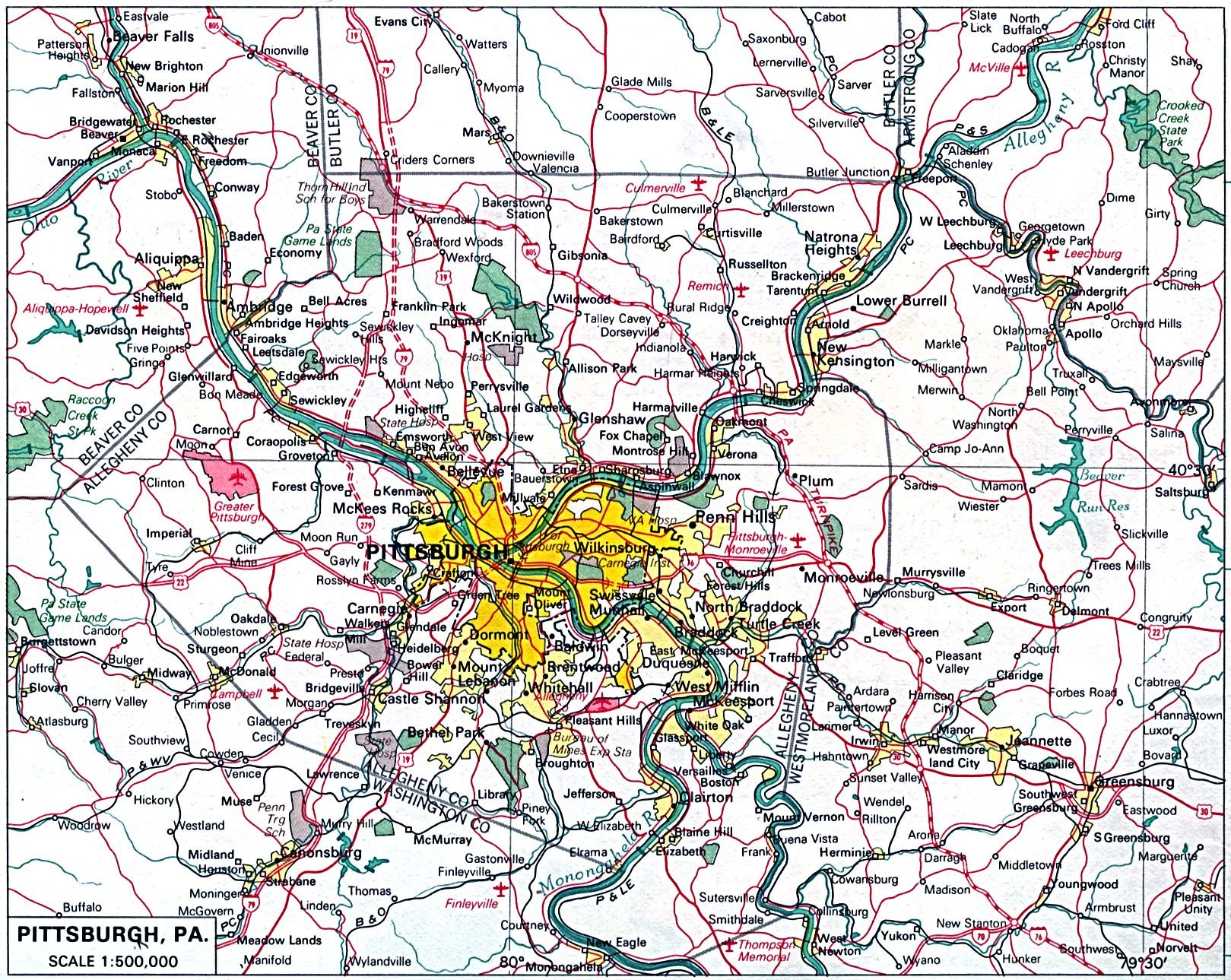 Pittsburgh City Map Pennsylvania United States Good Luck - Map of western pa