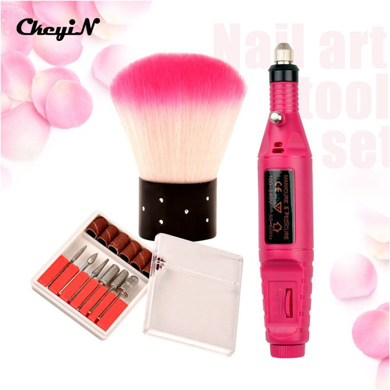 New Pen Shape Electric Manicure Drill Machine + 6 Nail Art Drill ...