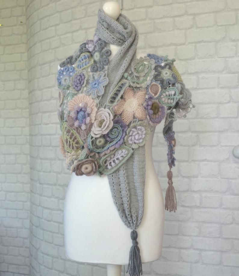 Photo of Scarf Irish crochet Light color scarf Angora yarn