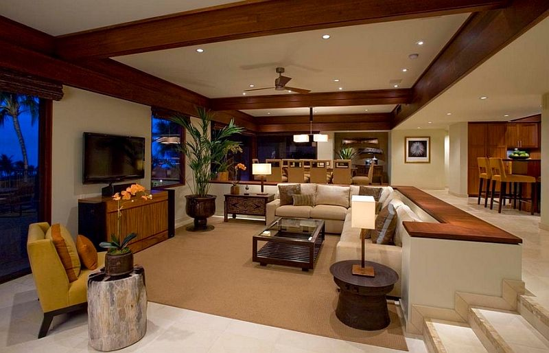 Sunken Living Rooms Step Down Conversation Pits Ideas Photos Sunken Living Room Tropical Living Room Cozy Living Room Design