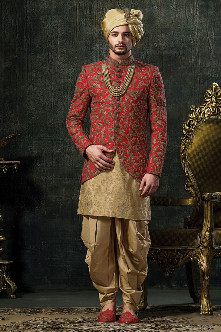 13b2f690da0b Red And Golden And Gold Wedding Indo Western Sherwani. Buy Indo western  dresses for men online ...