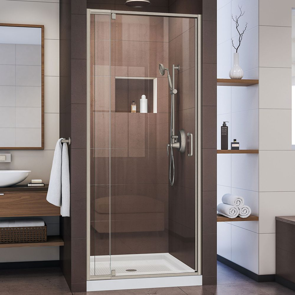 Flex 32 Inch D X 32 Inch W X 74 3 4 Inch H Pivot Shower Door In Brushed Nickel And White Base Framed Shower Door Frameless Shower Doors Shower Doors