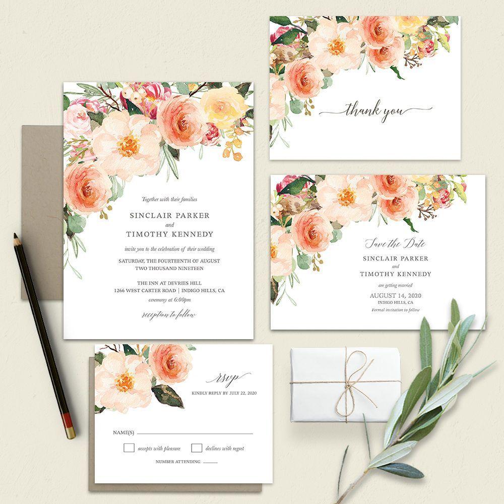 Peach Wedding Invitations Blush Peach Floral Greenery with ...