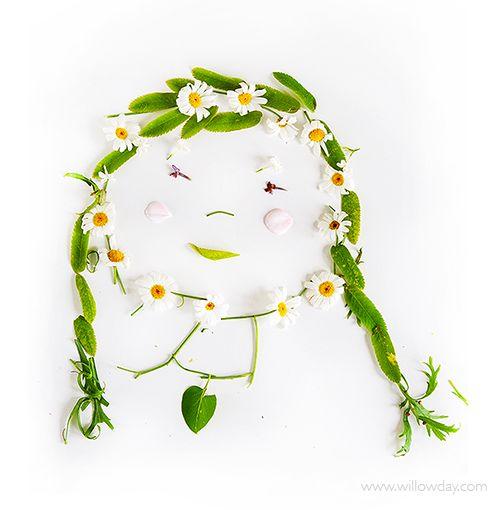 Retratos y dibujos con plantas