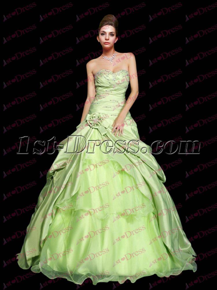 735ed2c112c 1st-dress.com Offers High Quality Pretty Drop Waist Sage Princess Sweet 15  Ball Gown