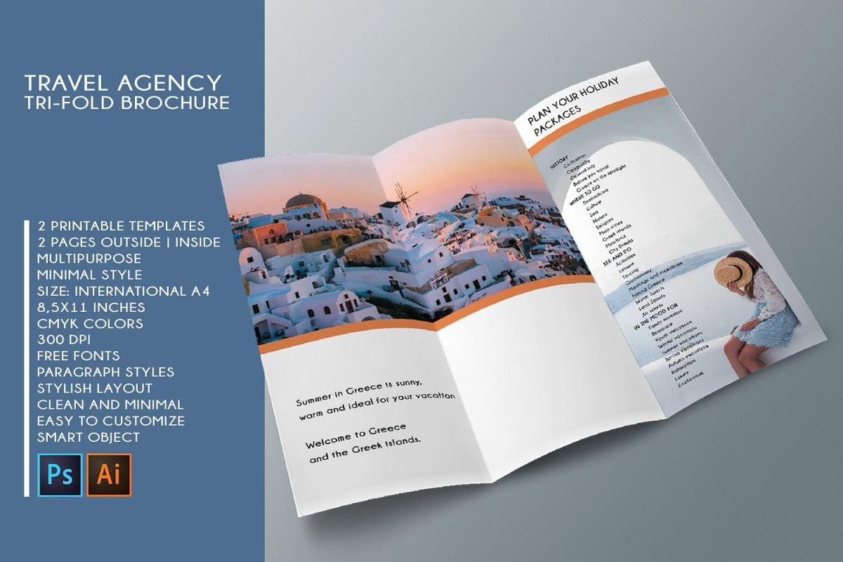 Trifold Travel Agency Brochure Templates A4 Free Brochure